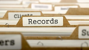 Records Concept. Word on Folder Register of Card Index. Selective Focus.