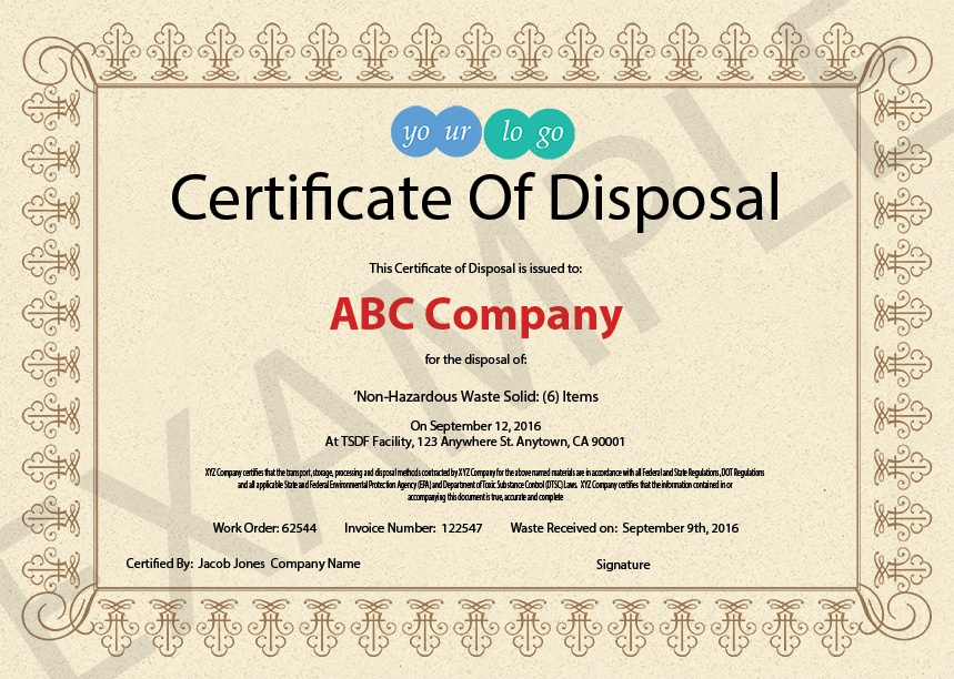 certificate of disposal template image collections template design