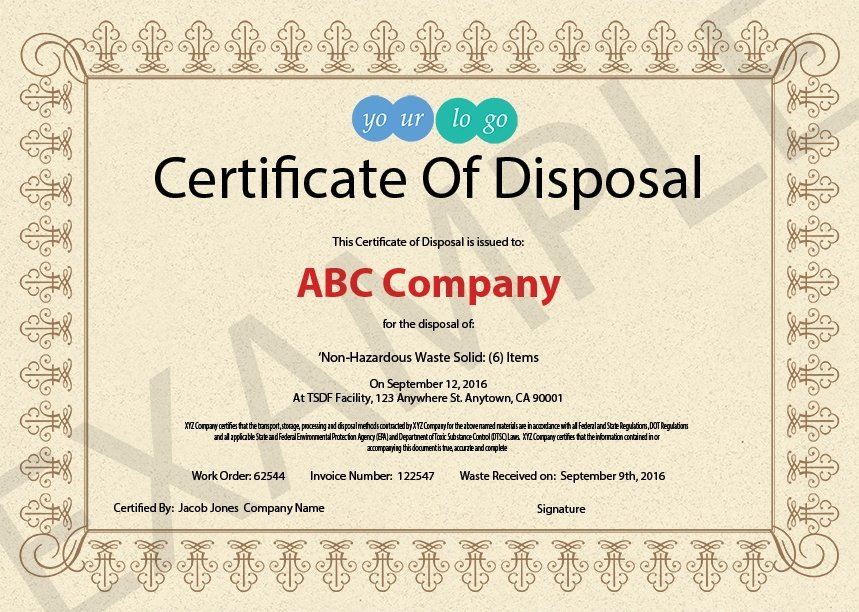 10 items that should be included in a certificate of for Certificate of disposal template