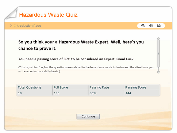 Hazardous Waste Quiz